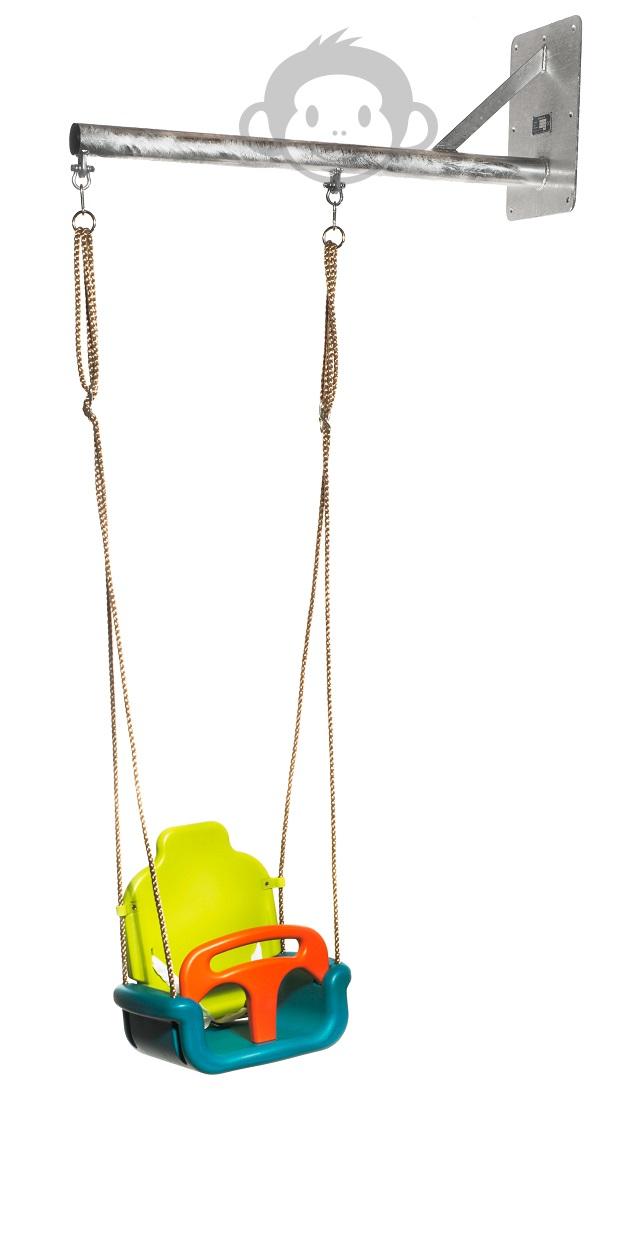WallySwing® muurschommel verzinkt, industrie-look met baby groei schommeltje