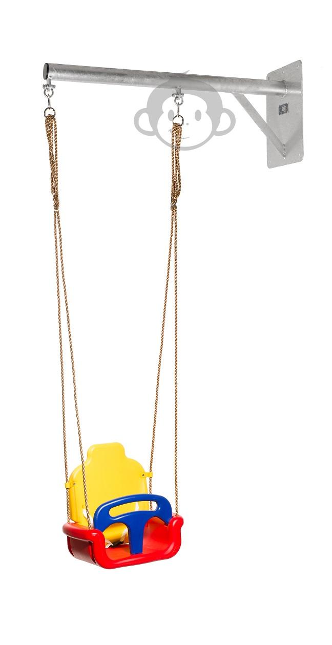 WallySwing® muurschommel verzinkt, industrie-look met baby groei schommelzitje